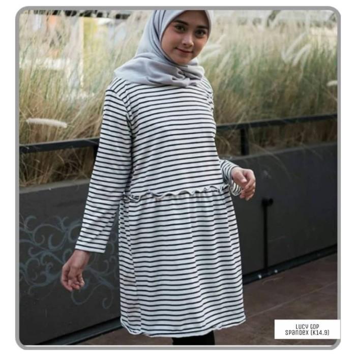 Baju atasan wanita - kaos garis garis lengan panjang wanita lucy top - Putih d9bb01f230