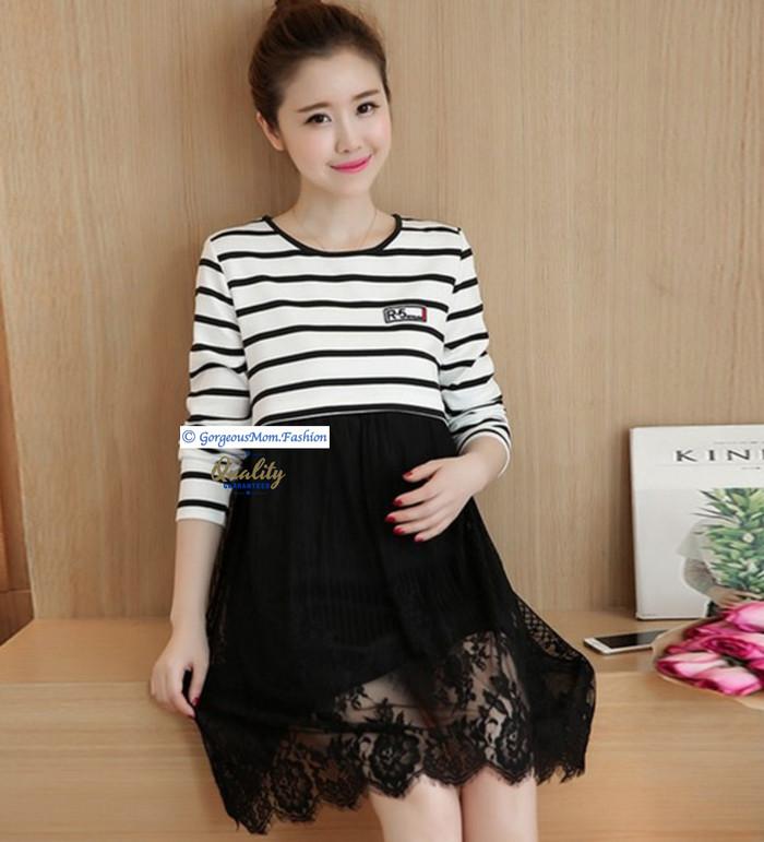 Jual Black Stripe Baju Hamil Bumil Baju Pesta Ibu Hamil Baju