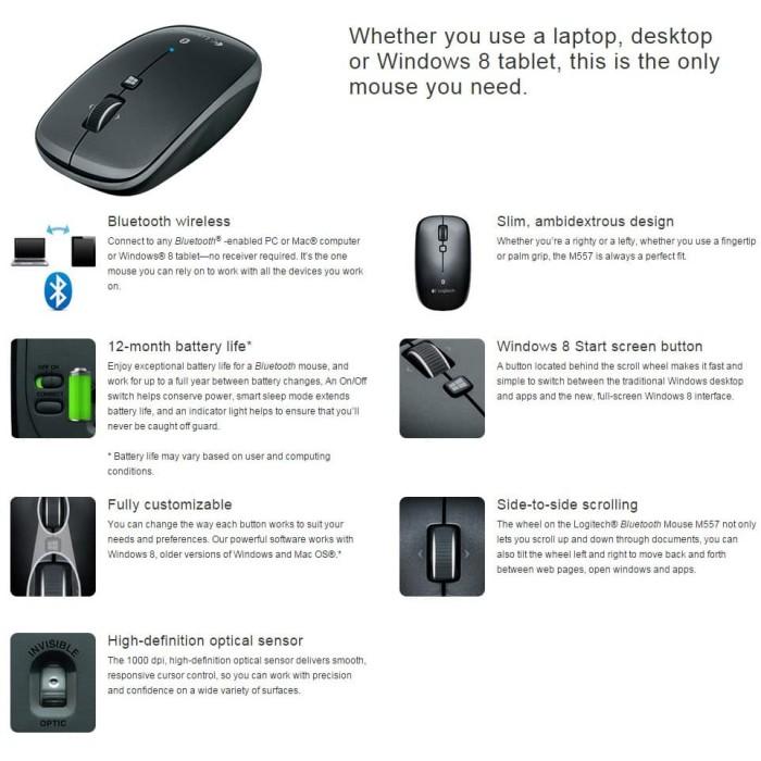 Logitech Bluetooth Mouse Freedom Plus M557 - Hitam - Blanja.com .