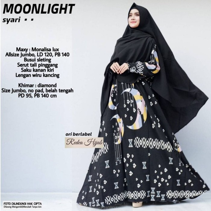 Baju wanita gamis moonlight syar'i muslim modern modis lucu unik