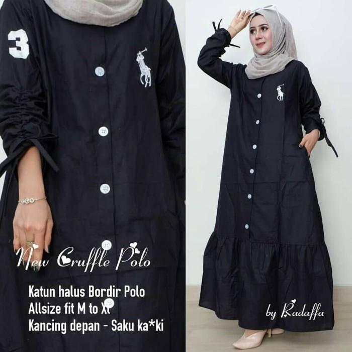 Baju Gamis Maxi Dress Pesta Wanita - New Cruffle Polo Maxi Murah - Hitam 2953304850