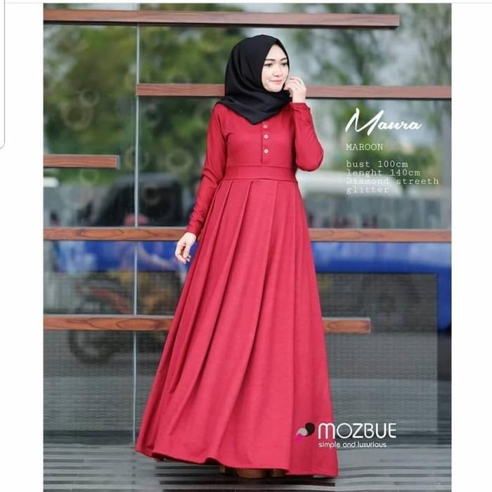 Baju Gamis Polos Wanita Maura Dress -Gamis Murah Maxi Dress Long Dres - Grey ac90fc1053