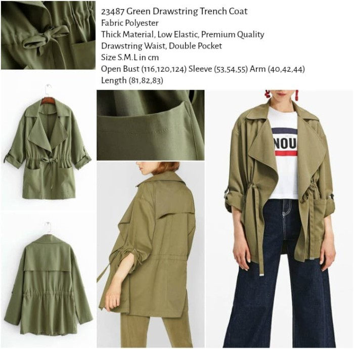 harga Green drawstring trench coat (size sml) -23487 Tokopedia.com