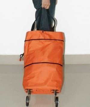 Tas Troli Lipat Troly Shopping Foldable Trolley Bag Cart - hijau bunga