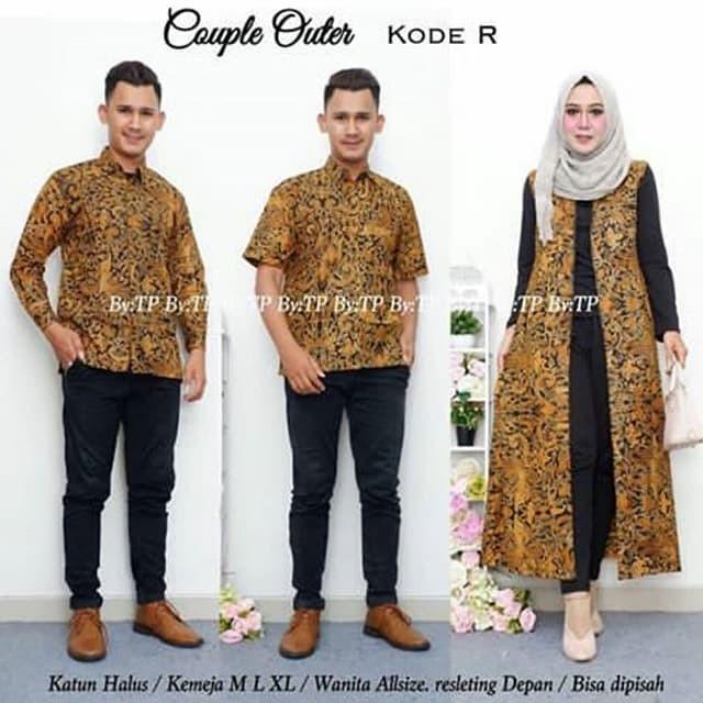 Jual Baju Couple Outer Batik Set Hem Kemeja Cowok Lengan Panjang Dan Pendek Kab Karanganyar Batik Busana Solo Tokopedia