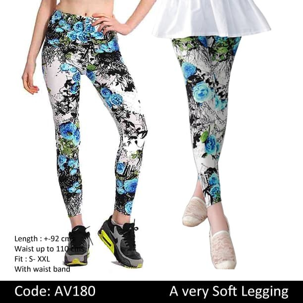 Jual Av180 Legging Motif Bunga Kota Bandung Legging Korea Tokopedia