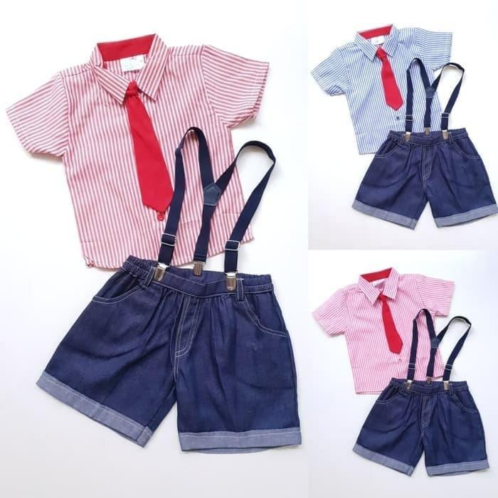 Foto Produk Baju setelan pesta anak laki laki dasi merah denim dari vicky shope