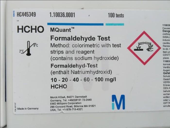 Foto Produk MQuant Formaldehyde Test Merck 1.10036.0001 Range 10-100 mg/l dari Labs Test Kit