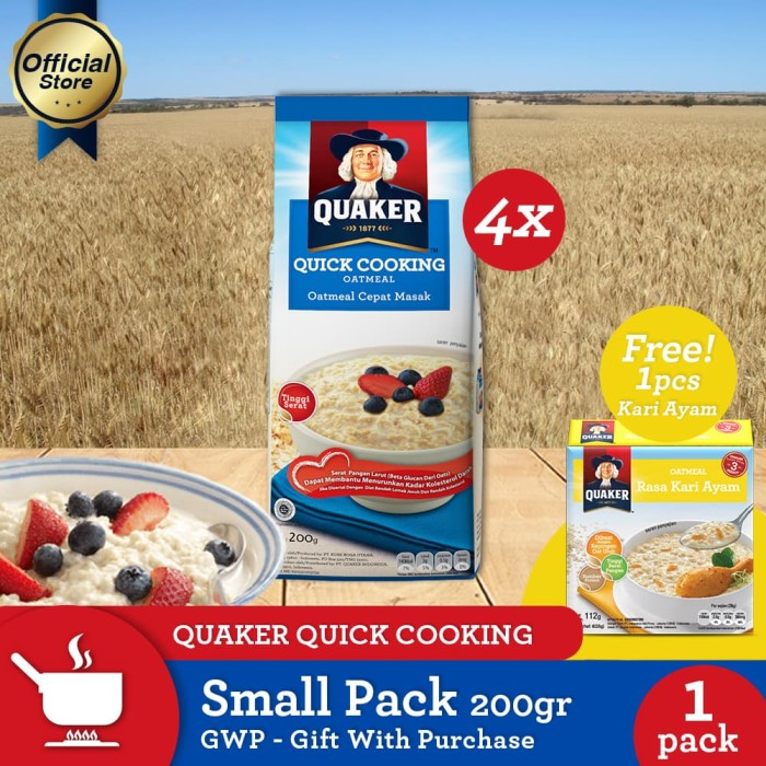 harga Quaker quick cooking oatmeal small pack 200g - 4 pcs [gwp] [p] Tokopedia.com