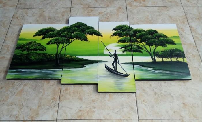 Jual Lukisan Pemandangan Alam Dan Manusia Perahu Kab Gianyar Minimalis Art Tokopedia