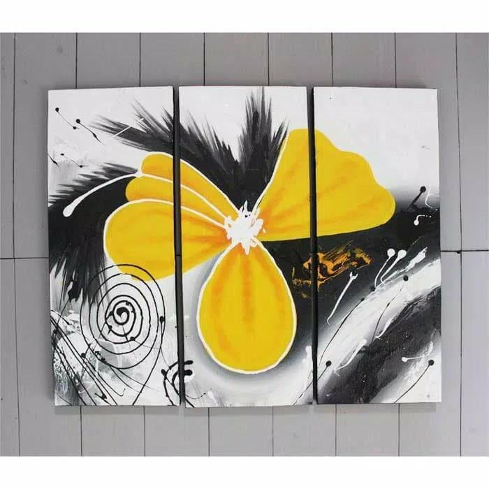 Lukisan Abstrak Bunga Kuning Minimalis