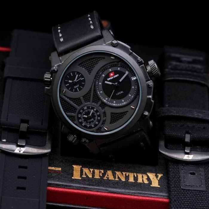 Jam Tangan Pria Swiss Army Infantry Full Black Free Tali