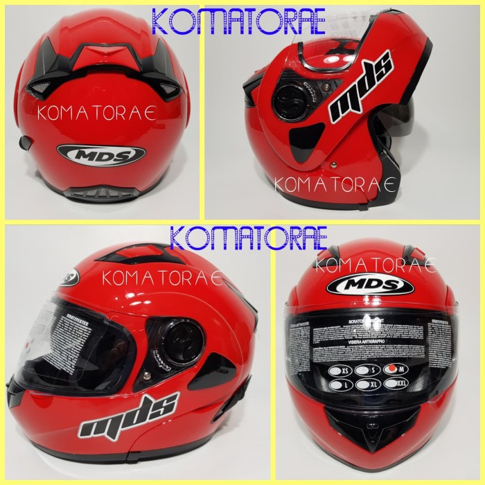 HELM MDS PRO RIDER SOLID FIRE RED RED FERRARI MODULAR FULL