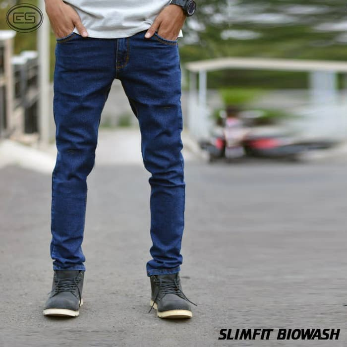 Foto Produk Jeans Slimfit Biowash Scrub | Biru | Navy | Wash | Celana Cheapmonday - Biru, 27 dari Grosir Bandung