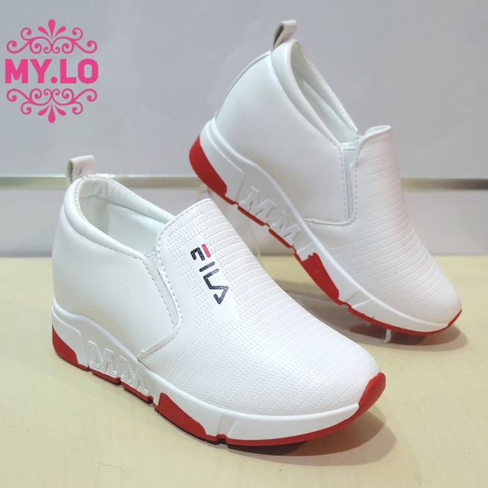 Sepatu Fila Wedges Casual Slipon Kets Putih Wanita Mylo Import Ms320