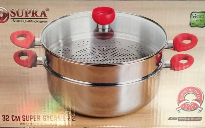 Supra steamer 32cm 2 susun panci kukus stainless steel
