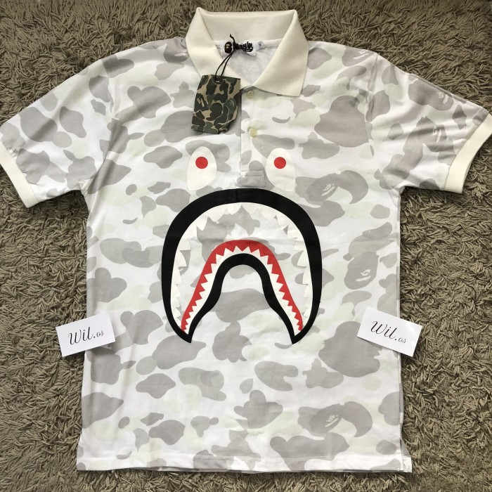 7921339c4 Jual KAOS POLO BAPE BATHING APE SHARK CAMO WHITE GRADE AUTHENTIC 1:1 ...