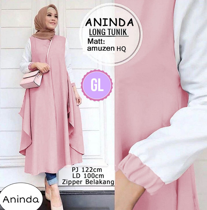 Atasan Wanita Muslim – Busanan Muslim Baju Maxi Dress Aninda Long Tunic 74e66db51c