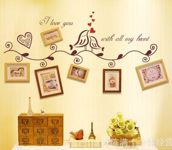 jual set stiker dekorasi dinding motif sepasang burung cinta - kota