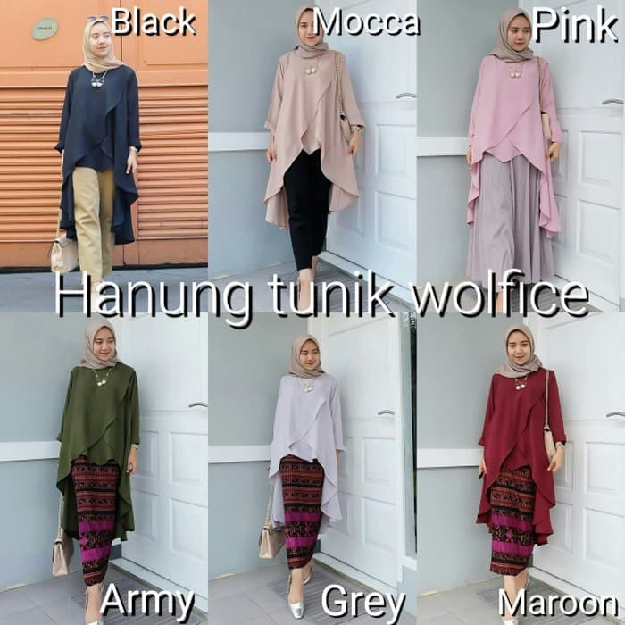 Baju hijaber murah Atasan muslim wanita Jual Blouse Hanung Tunik 05 9d6fdd6f83