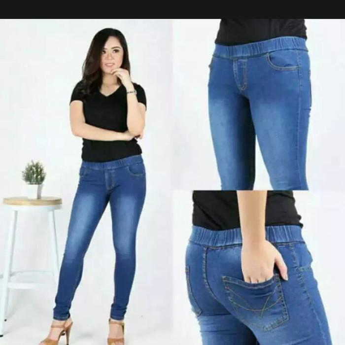 Jual Celana Legging Pinggang Karet Jeans Jumbo Wanita Size 31 38 Navy Biru 27 Kab Tangerang Honda Motor Berkatku Tokopedia