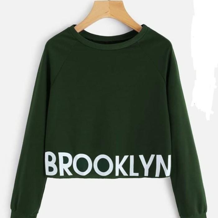 Topstore Sweater Hoodie Crop Cewe Brooklyn 53 Maroonred Long Sleeve ... c13f2a55e5
