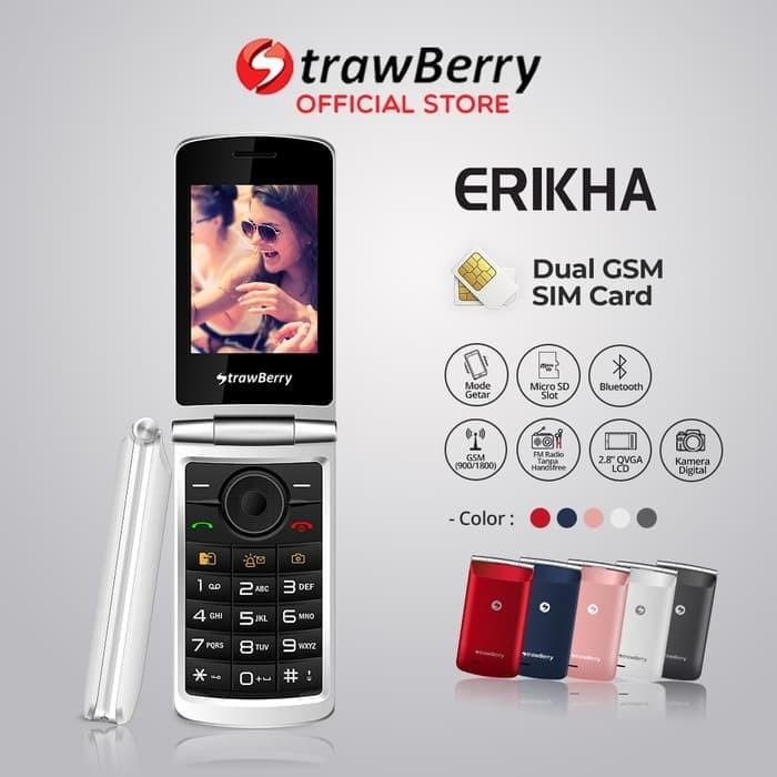 harga [fs] strawberry erikha | handphone flip hp murah kamera bluetooth - biru Tokopedia.com