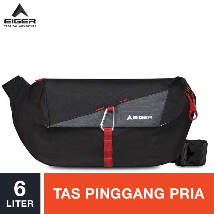 eiger ascenda cross link waist bag 6l - black / tas pinggang pria