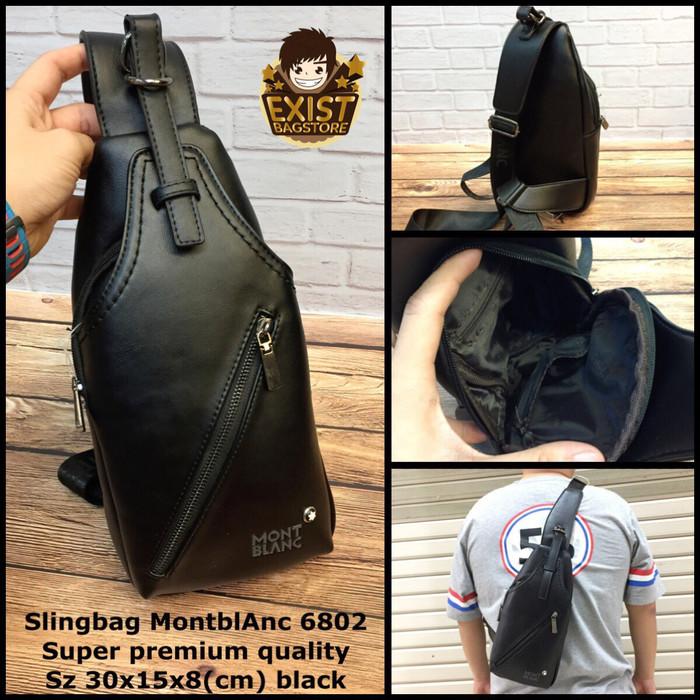 Jual Tas slingbag montblanc 6801 black super tas pria tas cowok tas ... b544833b69