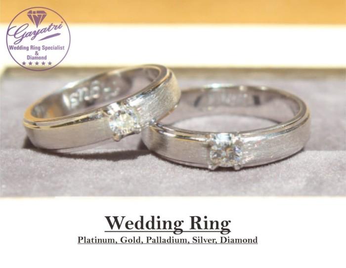 cincin nikah 2pcs White gold 18k AuAg+ perak 925 rhodium
