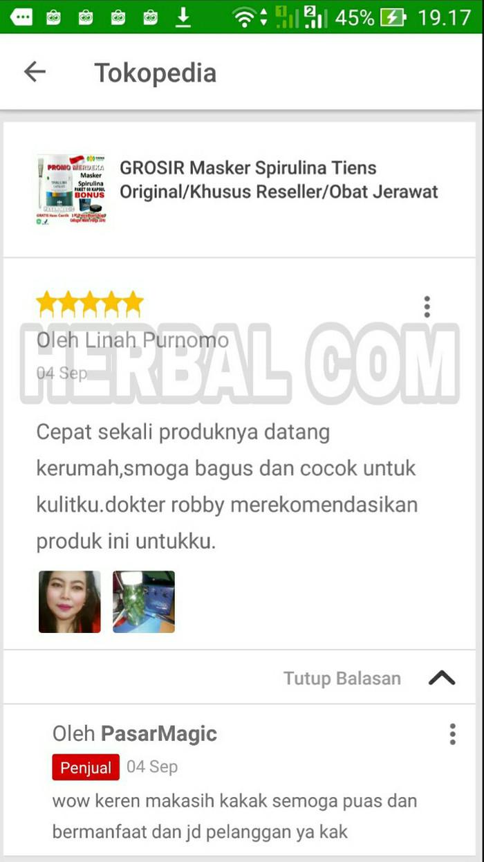 Jual Promo Masker Wajah Spirulina Tiens Termurah Ori100 Jerawat  Ter Flek Hitam