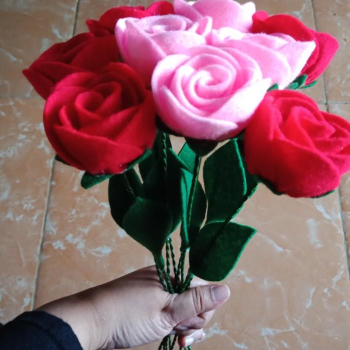 Jual Bunga Mawar Flanel Bertangkai Untuk Buket Hiasan Meja Dll Kota Tangerang Kaylazein Florist Tokopedia