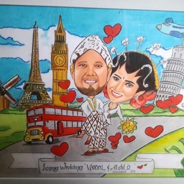 harga Kado wedding  anniversary ulang tahun karikatur sketsa murah Tokopedia.com