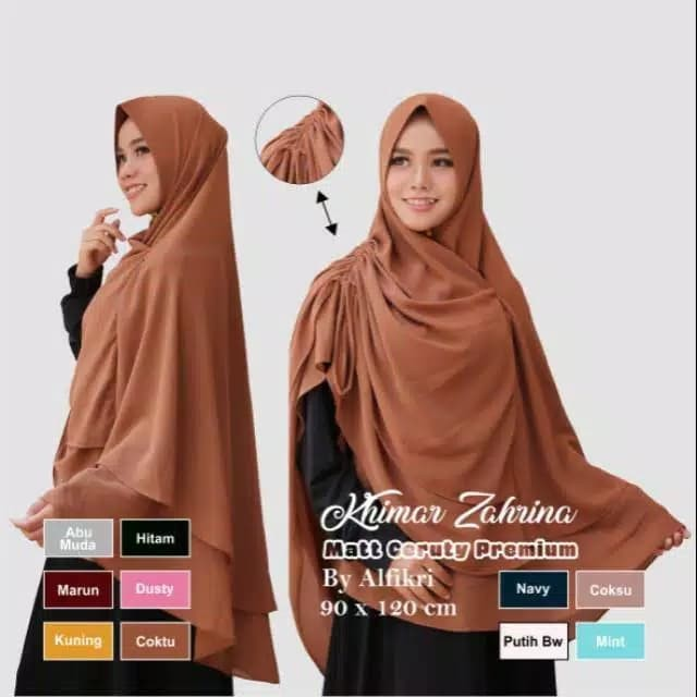 Zahrina Jilbab syari ceruty ceruti premium hijab kerudung instan serut