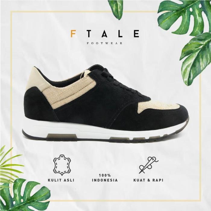 harga Ftale - moruca black / sepatu sneaker casual trendy kulit pria - hitam 44 Tokopedia.com
