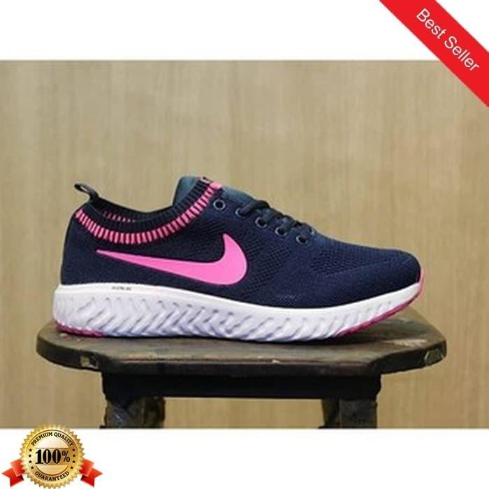 01 Sepatu Sneakers Wanita Nike Zoom Warna Hitam Pink Casual Harian