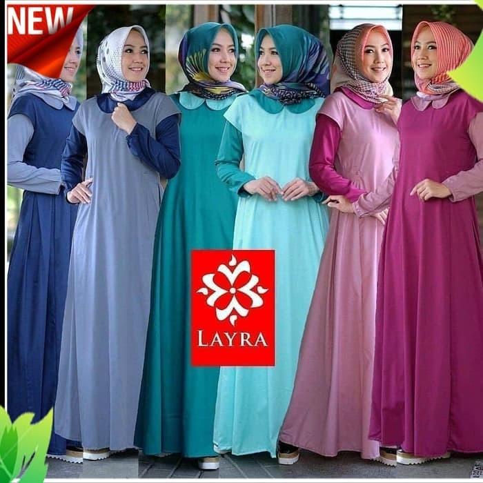 Jual Baju gamis wanita layra maxi dress muslim fashion muslim terbaru -  Navy - QB MELINDA ONLINE SHOP  abb51156fa