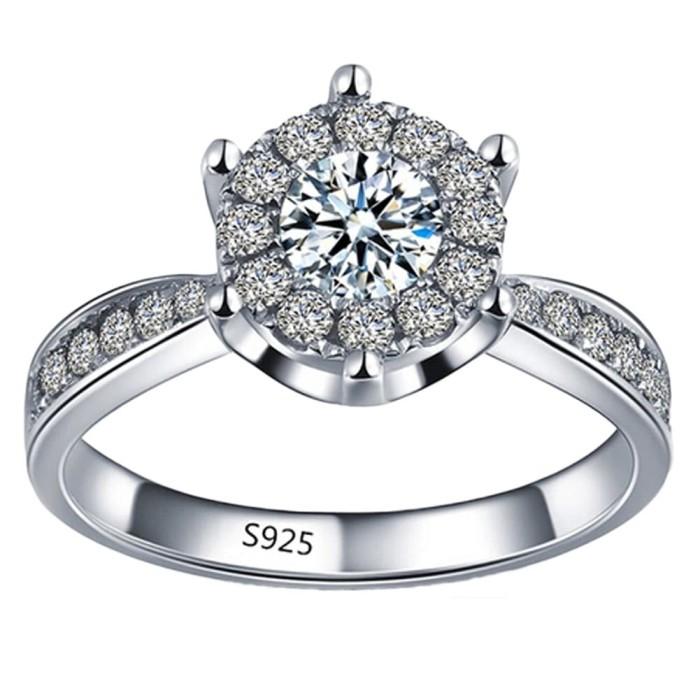 Hequ Exquisite Cincin Perak Perhiasan Cincin Pernikahan Romantis untuk