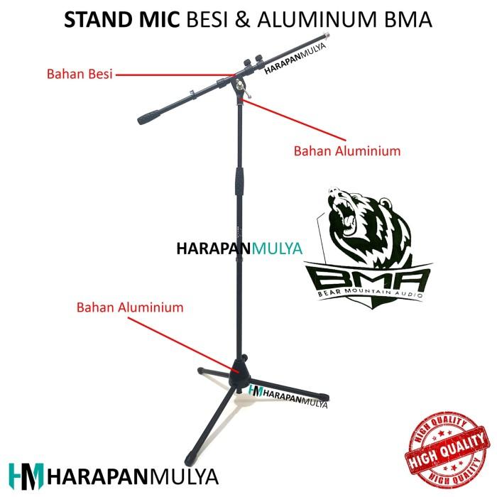 harga Stand mic bma / tiang microphone lantai kaki tiga besi dan aluminium Tokopedia.com