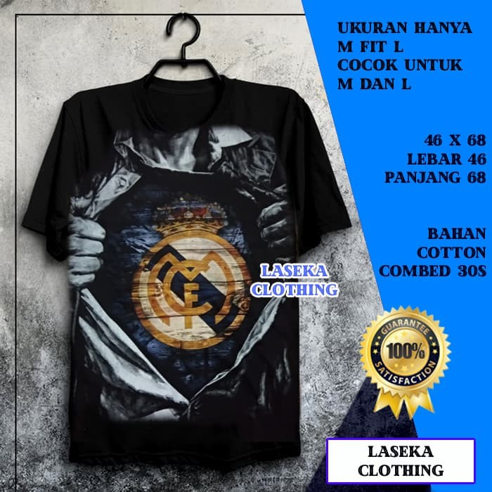 Kaos distro bola murah real madrid superman 3d bukan jersey