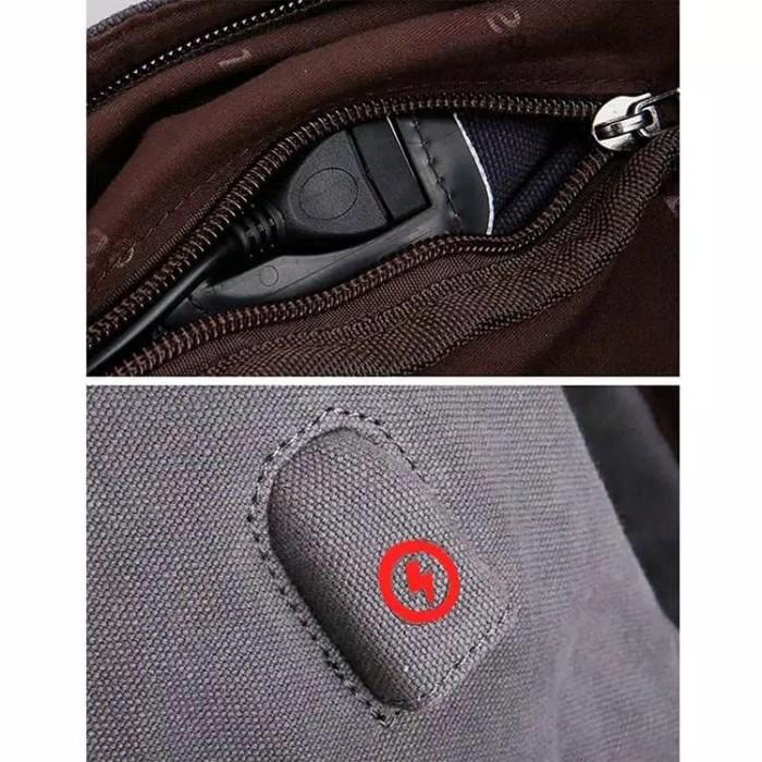 Mairu Tas Ransel Laptop Pria Wanita Sekolah Kanvas Travel Support USB 00762beab8