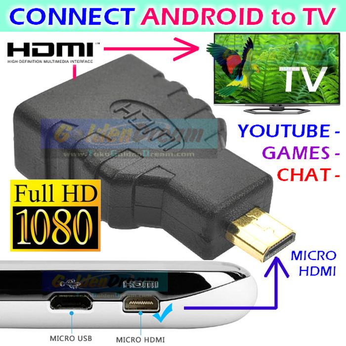 Jual Android to TV Adapter micro HDMI to HDMI Connector Full HD 1080 HP ke  - Kota Medan - Medan Magnet | Tokopedia