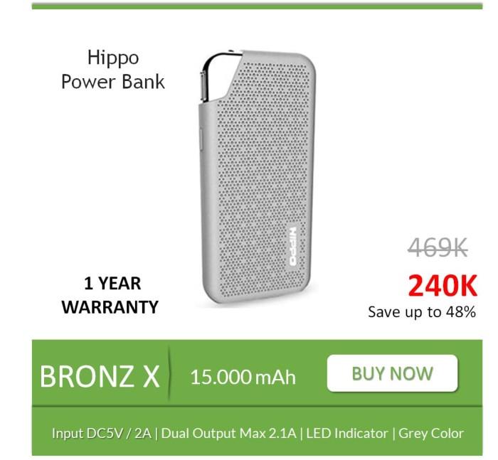 Power Bank Hippo Bronz X 15000 mAh Original Real Capacity Grey Abu Abu
