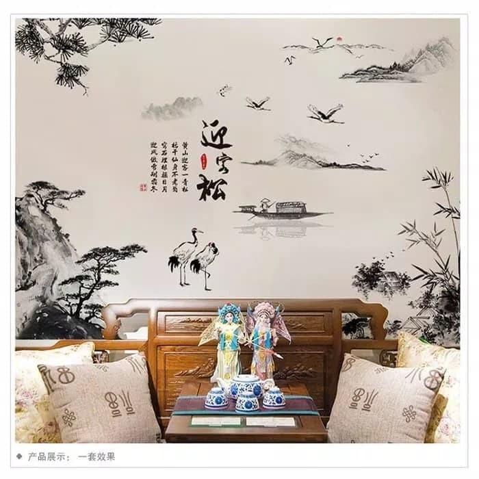 jual wallsticker 60x90 wall stiker painting bangau xh9262 wallstiker