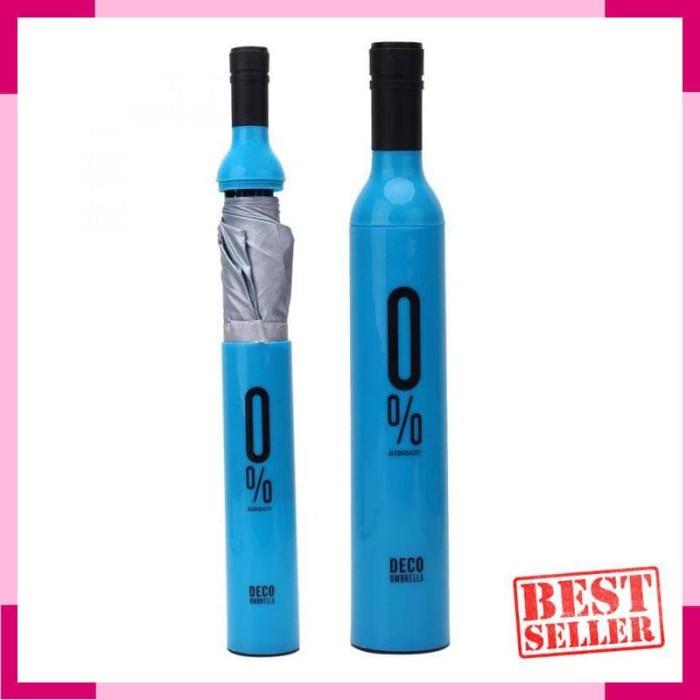Payung Lipat Desain Botol Wine-Biru