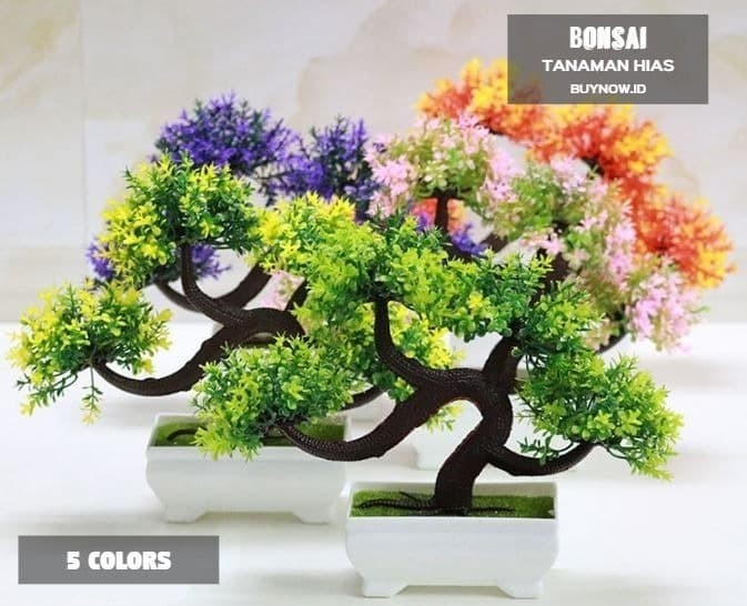 BONSAI Meja Bonsai Plastik Bonsai Artifisial pohon Bonsai (5set 1kilo) -  Merah Muda 7f746f8b6b