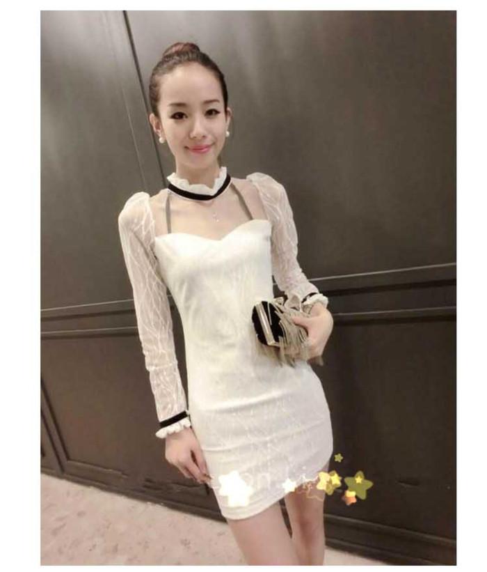 Jual Dress Pesta Putih Cewek Lengan Panjang Katun Kombi Brukat