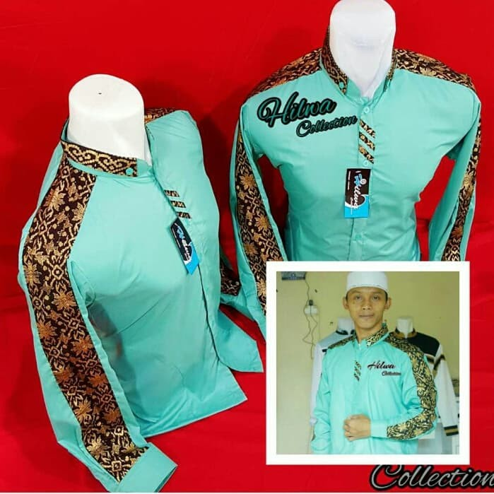 Jual Baju Koko Hadroh Kombinasi Batik Hijau Tosca L Kab Brebes Syndicate 17 Tokopedia