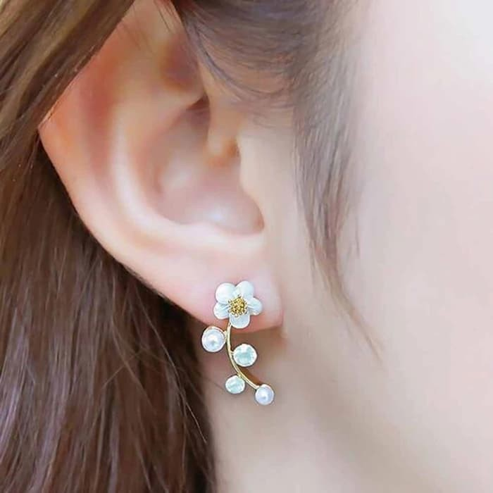 Anting Crystal Branch Shell Flower Stud Earring