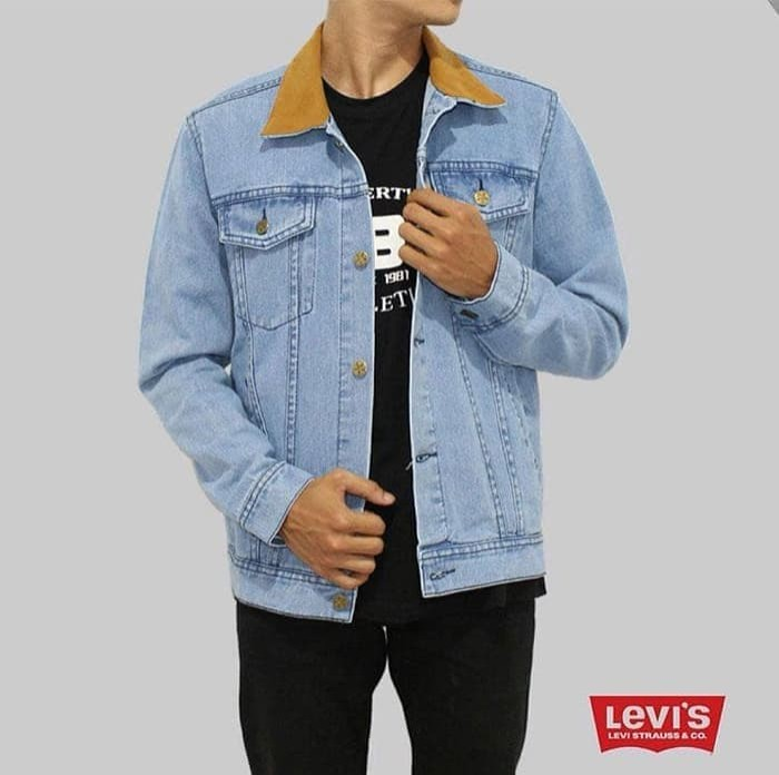Jaket Jeans Levis Pria Biru Muda Original  Jaket Denim Bioblitz Casual 4e408c9dbd
